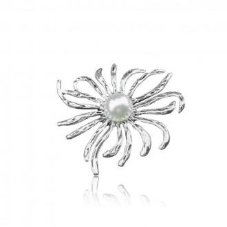 Брошка Квітка з намистиною срібляста