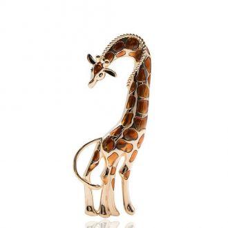 Брошка-підвіска Жираф коричнева