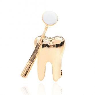 Брошка Зуб для Стоматолога золотиста