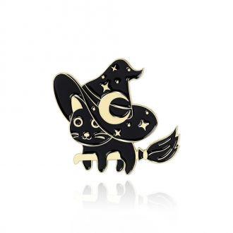 Брошка-значок Місячний кіт на мітлі чорна