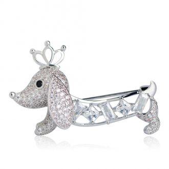 Брошка Собака Королівська Такса срібляста