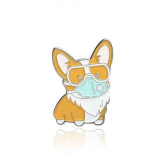 Брошка-значок Собака Коргі в масці жовта