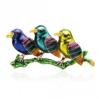 Брошка-підвіска Три Пташки на гілці різнокольорова