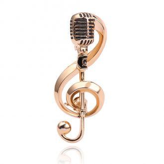 Брошь Скрипичный ключ Микрофон золотистая