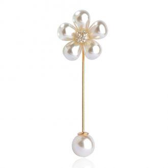 Брошка-голка Квітка біла