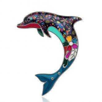 Брошка Дельфін різнокольорова