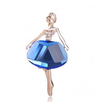 Брошь Танцовщица синяя