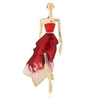 Брошь Модель в длинном платье красная