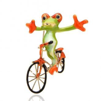 Брошка Жабеня Піфагор на велосипеді зелена