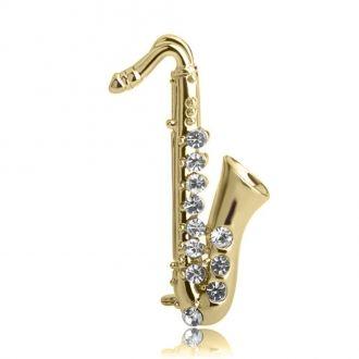 Брошь Саксофон золотистая