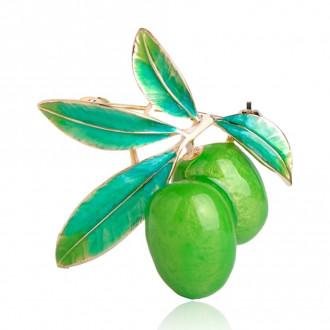 Брошь-подвеска Оливки зелёная