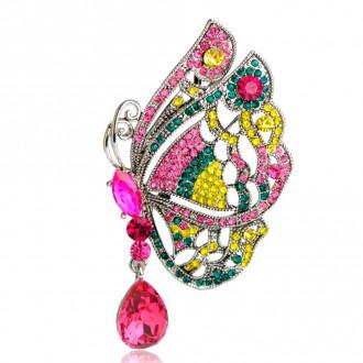 Брошка-підвіска Метелик рожева