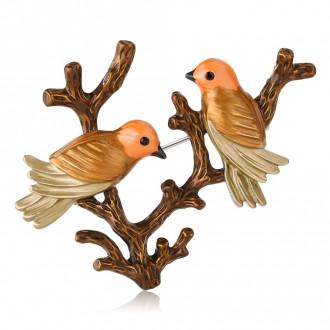 Брошка Закохані Пташки на гілці коричнева