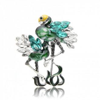 Брошка Танцюючі Фламінго зелена