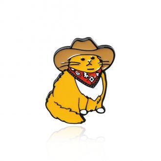 Брошка-значок Кіт Ковбой в капелюсі жовта