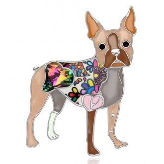 Брошка Собака Бостон-тер'єр коричнева