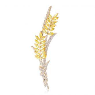 Брошь Колосья Пшеницы золотистая