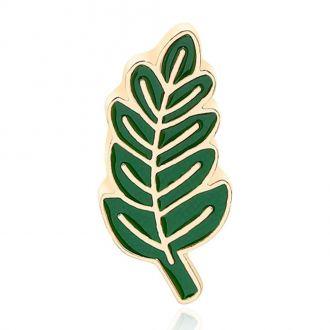 Брошь-значок Листок зелёная