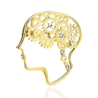 Брошка Мізки з шестернями золотиста