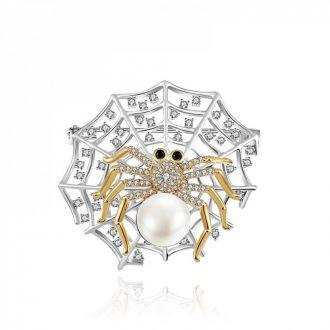 Брошка Павутина з павуком срібляста