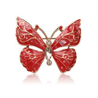 Брошь Бабочка Тина красная