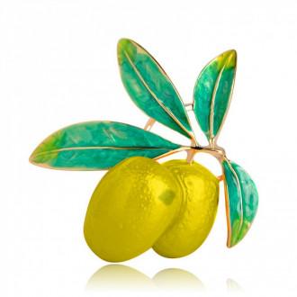 Брошь-подвеска Оливки жёлтая