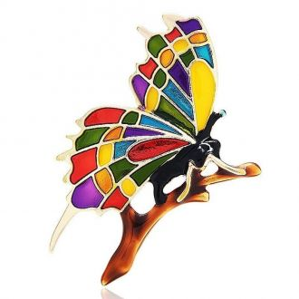 Брошка-підвіска Метелик Лі-Лі на гілці різнокольорова