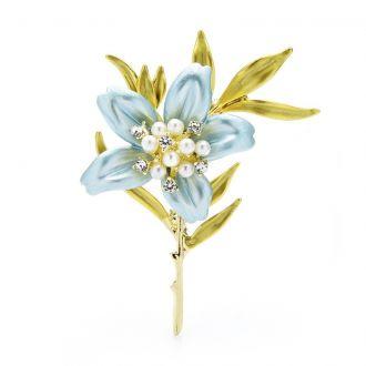 Брошка Квітка Мурайї блакитна