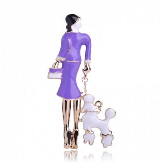 Брошь Дама с собачкой фиолетовая