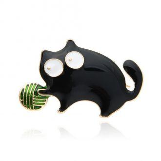 Брошка Кіт з клубком чорна