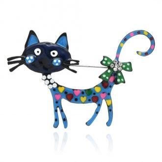 Брошка-підвіска Кішка Ельза синя