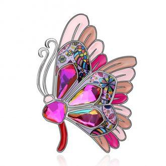Брошка Метелик рожева
