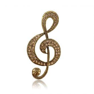 Брошь Скрипичный ключ золотистая