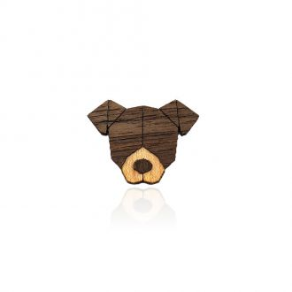 Брошка-значок Песик коричнева