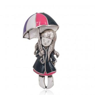Брошь-подвеска Девочка с зонтом разноцветная