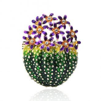 Брошка-підвіска Квітучий Кактус фіолетова