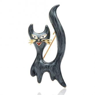 Брошка-підвіска Кіт Амур чорна