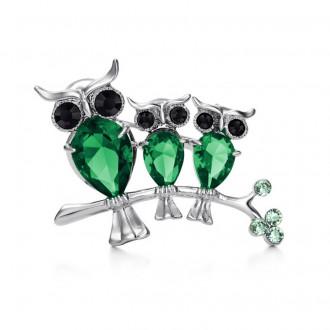 Брошка Три Сови зелена