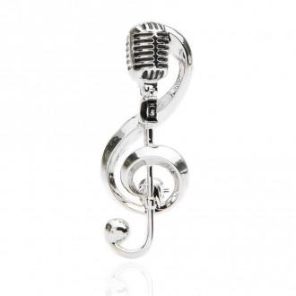 Брошь Скрипичный ключ Микрофон серебристая