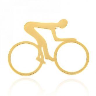 Брошь Велосипедист золотистая