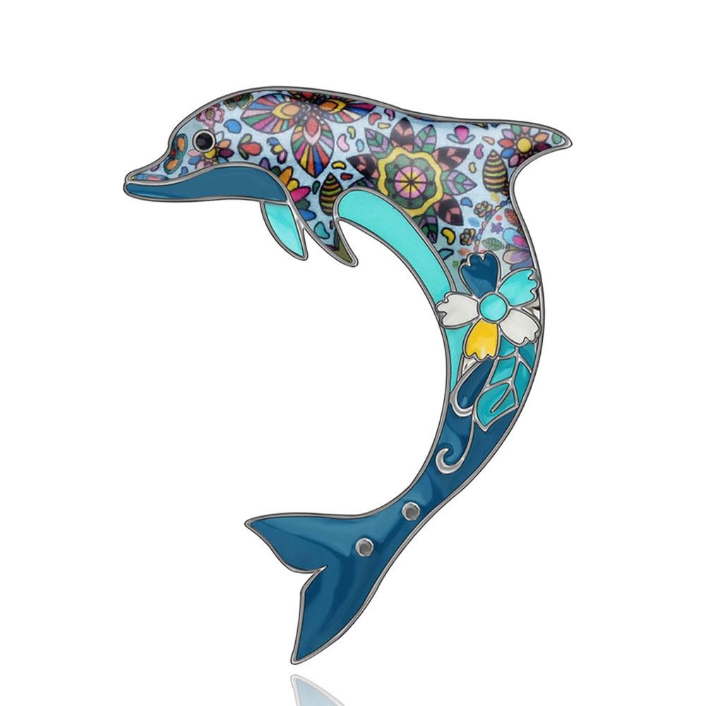 Брошка Дельфін блакитна
